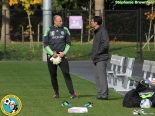 Kasey Keller visits with Sounders' owner/GM Adrian Hanauer at Monday's training session. Unless the Sounders make a miracle comeback, Wednesday will be Keller's final match as a pro. (Stephanie Brownfield)