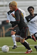 Max Cullen, seen here with Olympic College in the 2011 NWAACC playoffs, scored a stoppage time goal to clinch Bellingham United's pre-season win on Friday night. (Wilson Tsoi)