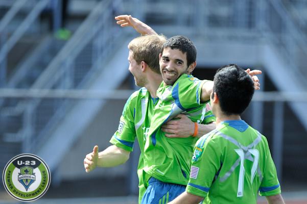 Sounders U-23's celebrate a pre-season goal. (Chris Coulter / SoundersU23.com)