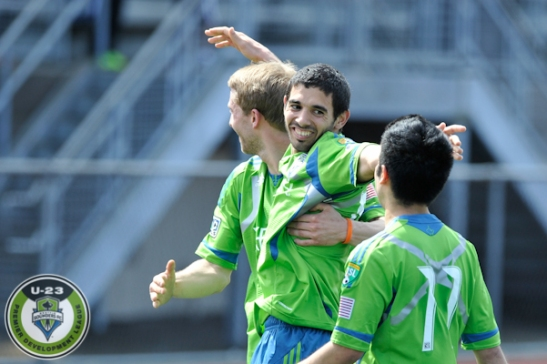 Sounders U-23's celebrate a pre-season goal. (Chris Coulter / SoundersU23.com)