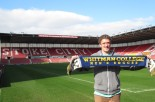 Walla Walla's Whitman College starting goalkeeper Michael Bathurst proudly displays his home scarf at Stoke City's home Britannia Stadium. (blog photo)