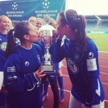 Perez and Deines kiss the cup in Iceland.