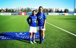 Husky grads and Sounders Women players Veronica Perez and Kate Deines pose in their Icelandic pro kits for club Stjarnan FC. (www.DawgsInIceland.com)