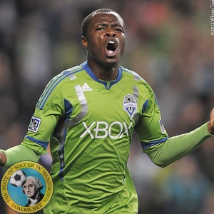 September 22, 2012, Seattle, Wa. - Steve Zakuani celebrates his goal at 14' mark to even Seattle up at 1:1. (Wilson Tsoi)