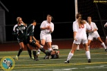 Rachel Shim launches the second of three early goals in a hat trick as Skyline topped Newport Tuesday night. (Dale Garvey)