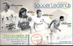 Date Change: Northwest Soccer Legends Night November 9 inTacoma