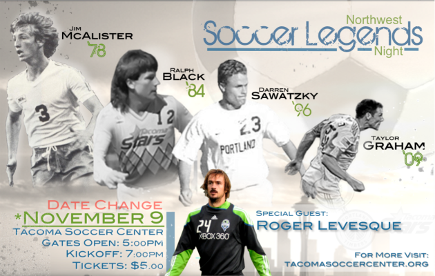 Northwest Soccer Legends Night Friday in Tacoma; Levesqueadded