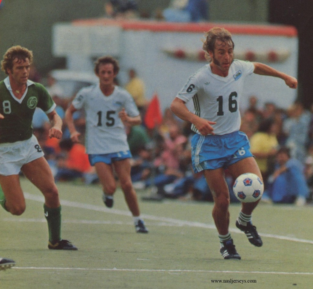 Webster (#16) in Soccer Bowl '77.