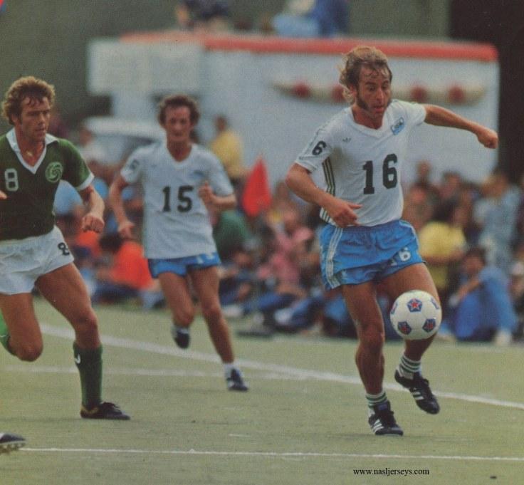 Webster (#16) in Soccer Bowl '77.