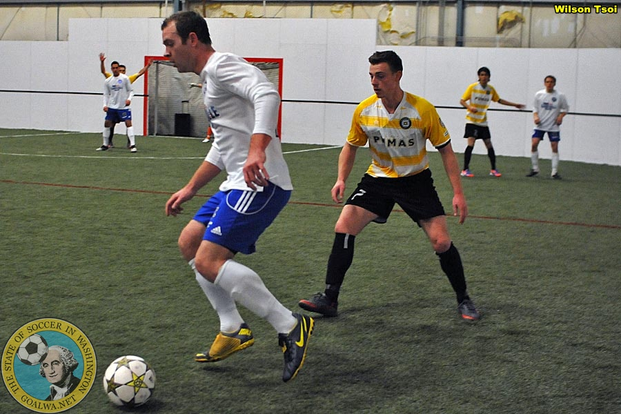 Perkins (yellow shirt, center right), broke through for Kitsap with four goals and three assists to be named Player of the Week in the PASL Northwest by goalWA.net. (Wilson Tsoi)