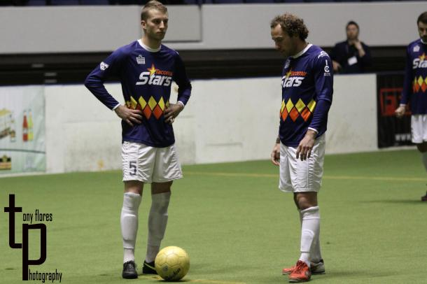 Last week in Anaheim the Stars fell 8:7 to the Bolts. In this photo from that match Micah Wenzel and Ian Weinberg await kick off. Weinberg scored a hat trick on January 20 as Tacoma avenged the loss with a 12:9 win of their own. (Tony Flores)