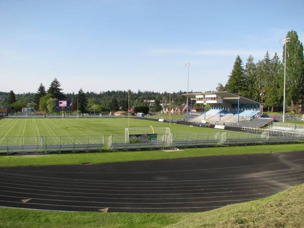 Memorial Stadium in Bremerton as it looked for the 2009 debut of the Kitsap Pumas. The portable bleachers will move to Gordon Field. (David Falk)