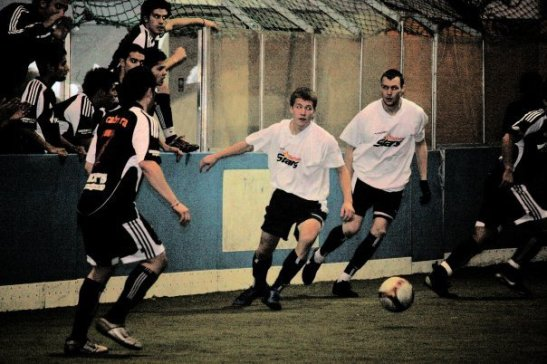 Johnson (left center) and Rydberg (right center) on the pitch for the Tacoma Stars back in 2010. (courtesy photo)