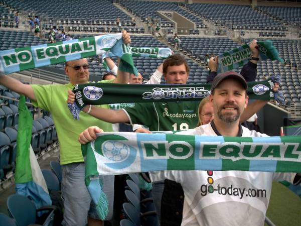 First-ever batch of Emerald City Supporters scarves, 2005.