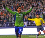 2009: Montero scores twice as Seattle wins its MLS debut over New York. (Rick Morrison)