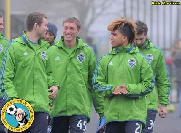 New guys Eriq Zaveleta, Dylan Remick and DeAndre Yedlin (left to right) make their way to practice. (Rick Morrison)