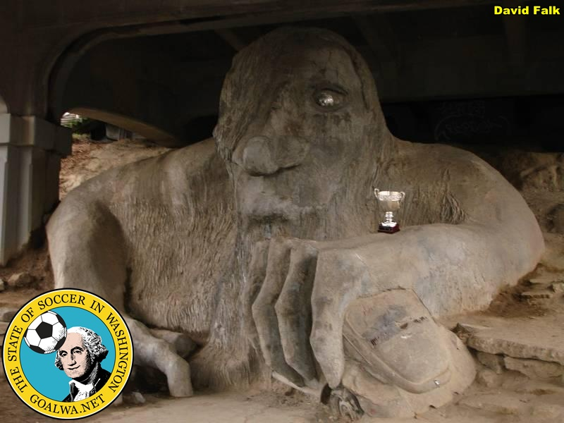 Seattle's Fremont troll guards the Cascadia Cup. Now is the time for supporters to do the same. (David Falk)