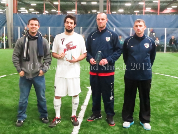 Players of the Week: Clubs took the time to have trophies  made. From left to right: Tumwater head coach Matt Stalnik, Player of the Week Kevin Flavin, Player of the Week Nate Ford (Shock) and Jason Gjertsen (head coach, Shock.)