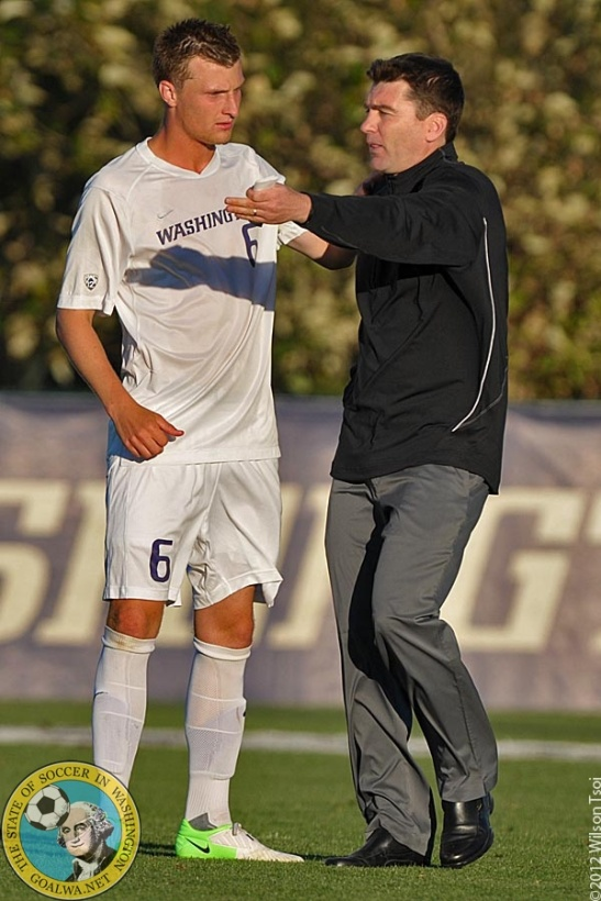 Dylan Tucker-Gangnes gets some advice from Washington head coach Jamie Clark. DTG has signed in MLS with Portland Timbers. (Wilson Tsoi)