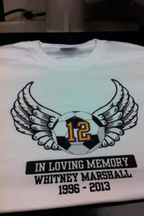 Puyallup High School soccer hs made available these shirts in honor of Whitney Marshall.