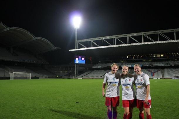 Barrier (far left) and two mates at Lyon in the Champions League. (Courtesy photo)