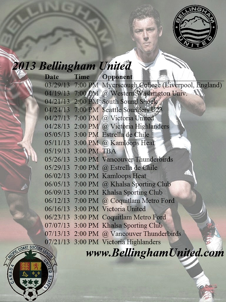 Bellingham United FC 2013 schedule taking shape