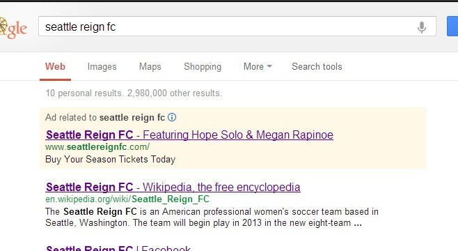 Reign FC using Google in search for ticket sales