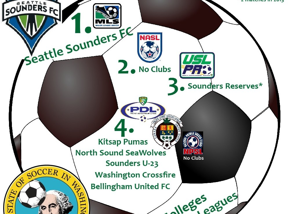 Washington's pro / semi-pro clubs by US Soccer 'division'