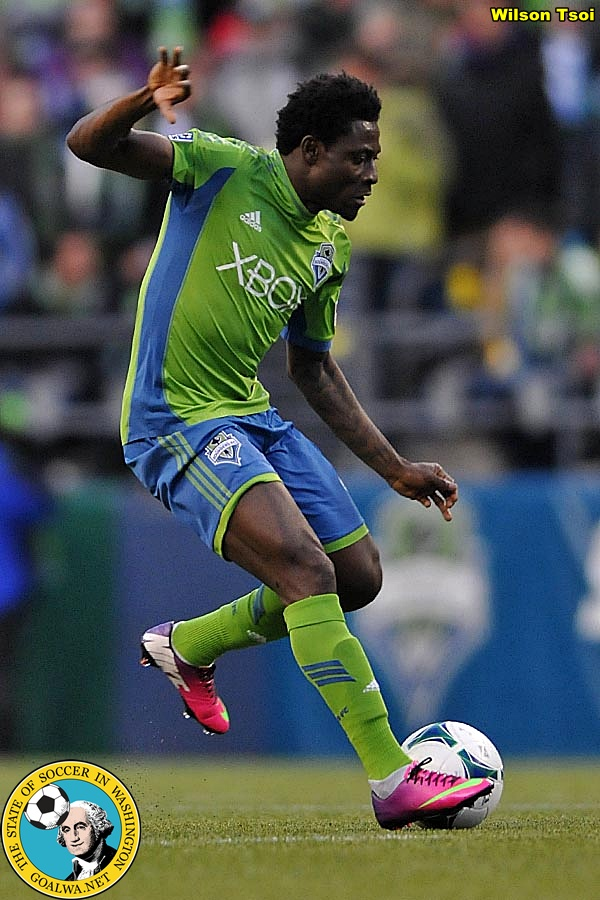 Obafemi Martins saw action in his first match for Seattle. (Wilson Tsoi)