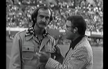 McCrath (left) with Bruce King on a 1975 NASL Sounders broadcast. (video capture)