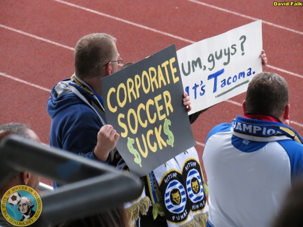 Pumas supporters were ready with signs to dig at the U23's. (David Falk)