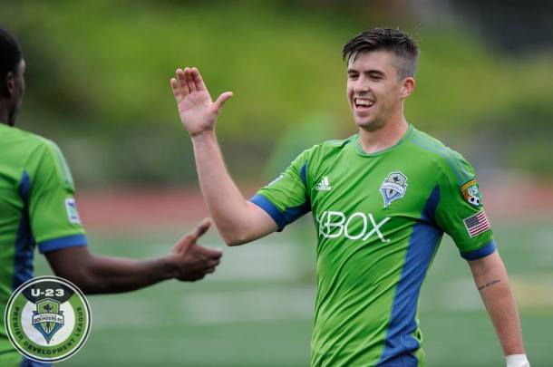 Aodhan Quinn (right) scored two for the Sounders U23's in the first half. (Chris Coulter, SoundersU23.com)