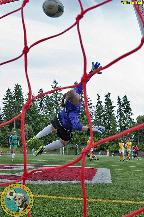 This Marina Galaz shot is the first ECFC goal on Saturday against Spokane. (Wilson Tsoi)