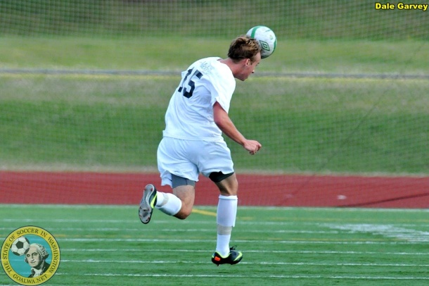 James Moberg heads the ball to himself on a break towards the Whitecaps goal. (Dale Garvey)