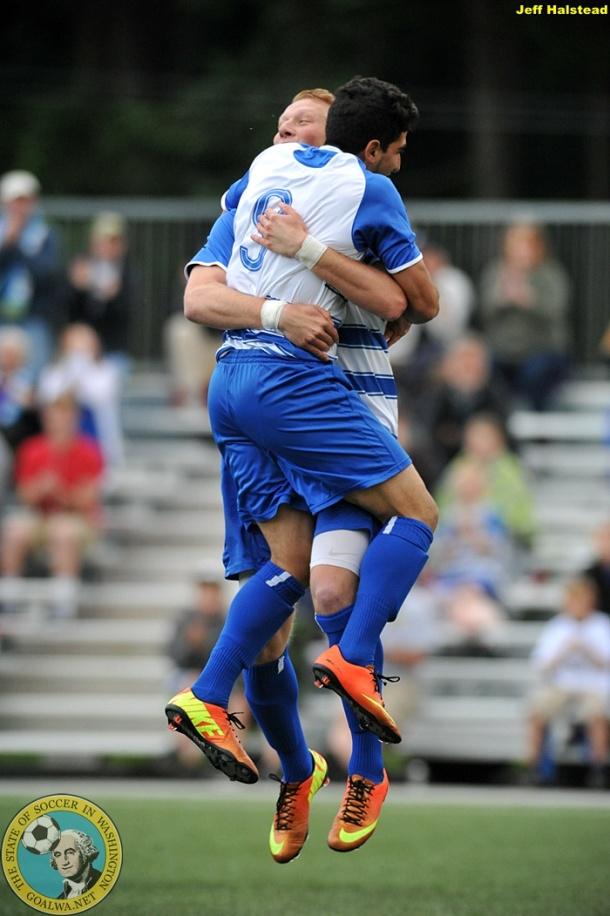 Kasy Kiarash (#9) celebrates his first og two goals against Vancouver. (Jeff Halstead)
