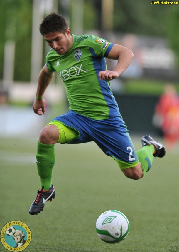 Michael Uyhara dashes for the Sounders U-23's. (Jeff Halstead)