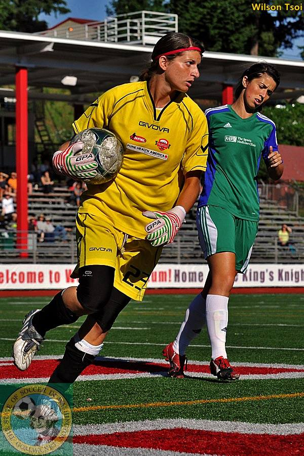 Ilaria Leoni made a second-half kick-save that preserved an AC Seattle victory. (Wilson Tsoi)