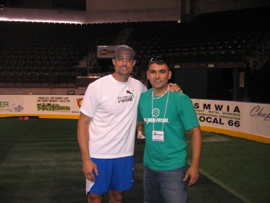 Kasey Keller stands next to Wenatchee United FC founder Javier Reyna when Sounders FC visited the city for an Elite Coaches Clinic. (Courtesy photo)