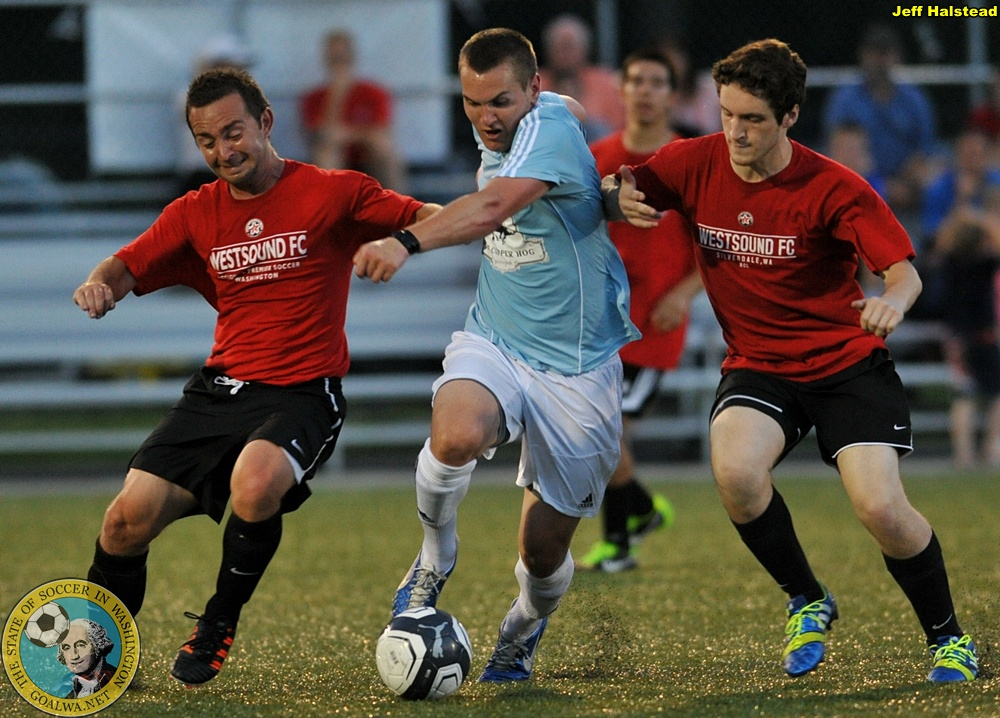 Kevin Skinner (far left) and the WestSound FC Men played the Bellingham United Reserves twice this summer. (Jeff Halstead)