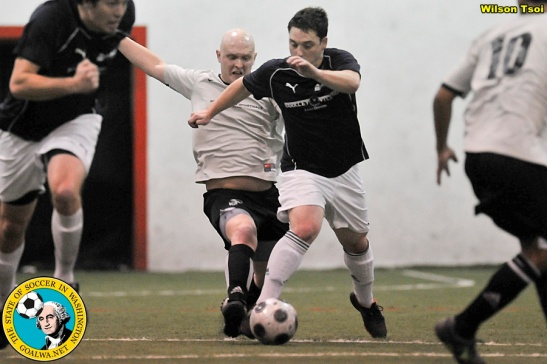 The Skyhawks (white) and Rapids will continue their rivalry in the PASL NW in 2013-14 in the North Division. (Wilson Tsoi)