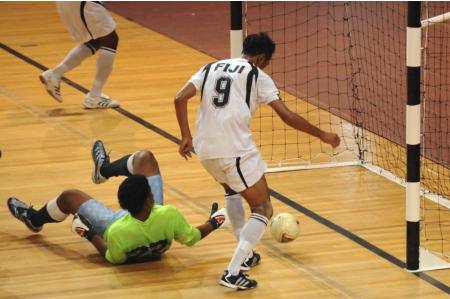 Hassan scores for Fiji Futsal. (Fiji Times)