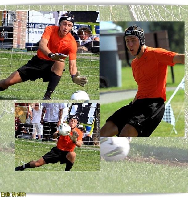 Wearing orange, stopping penalty kicks.