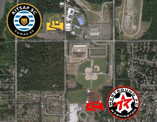 The Kitsap Pumas and WestSound FC Men will play 30 seconds away from each other by car. (Google Maps)