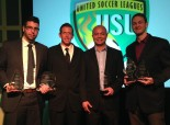 Mark deFrias (Victoria Highlanders), Tim Holt (USL), Alex Silva (North Sound SeaWolves) and Jon Billings (Seattle Sounders Women) hold their awards at the USL AGM in Florida. (USLsoccer.com)