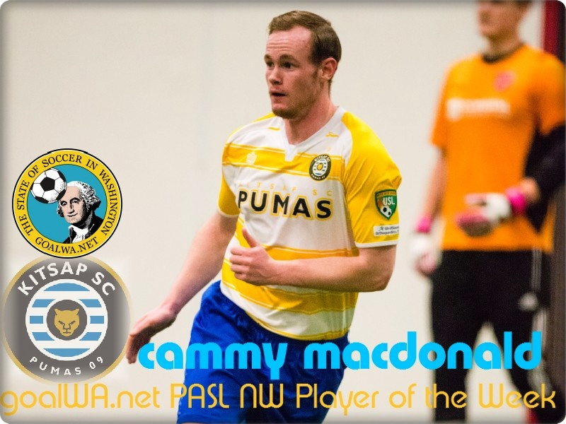 goalWA.net PASL NW Player of Week: Cammy MacDonald, Kitsap Pumas