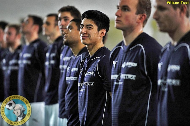 Rapids line up. Tony Clark flashes a smile for his uncle, the photographer. (Wilson Tsoi)