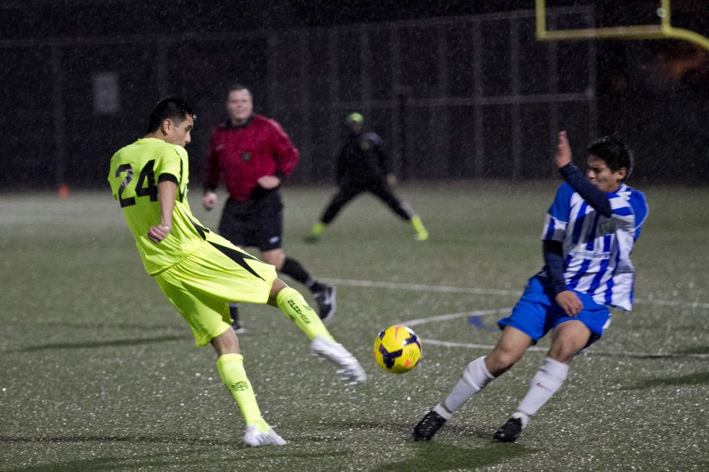 Spartans FC (yellow) crushed SO Samba 6-0 in Portland on Saturday night. They will play Seattle Sporting this weekend in NPSL US Open Cup qualifying. (Spartans Facebook)