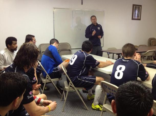 South Sound FC head coach Adam Becker talks with his troops at halftime in Hood River on Saturday. (SSFC Facebook)