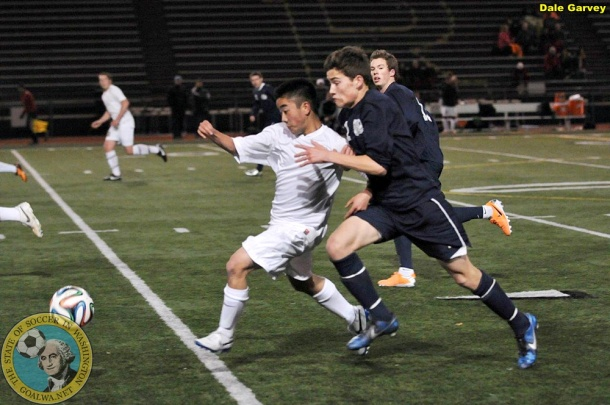 Redmond (white) fell 3-2 at home to Glacier Peak on Friday. (Dale Garvey)