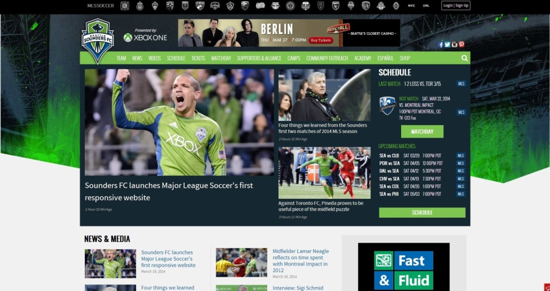 Sounders FC launches first responsive website inMLS